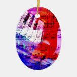 music, piano decor (11) ceramic oval decoration
