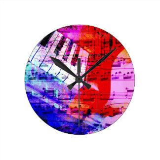 music, piano decor (11) round clock
