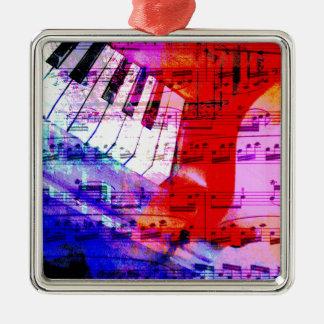 music, piano decor (11) Silver-Colored square decoration