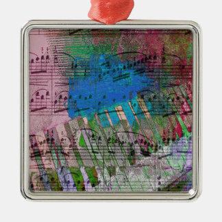 music, piano decor (6) Silver-Colored square decoration