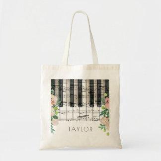 music piano floral name tote bag
