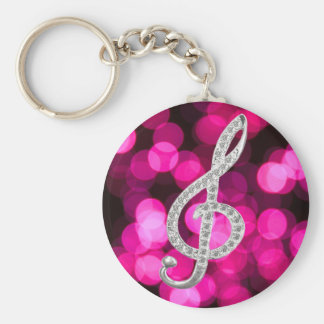 Music Piano Gclef Basic Round Button Key Ring
