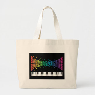 Music piano instrumental keyboard multicolored large tote bag