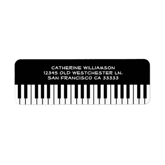Music Piano Keyboard Keys Custom Name or Company Return Address Label