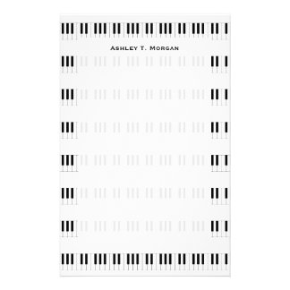 Music: Piano Keyboard Pattern Personalized Stationery