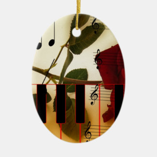 Music Piano Keys Notes Teacher Roses Instruments Christmas Ornament