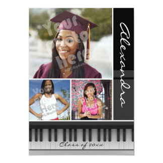 Music Piano Keys, Photo Graduation Card