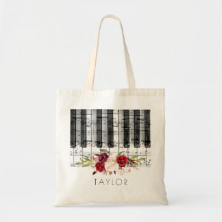 music piano marsala floral name tote bag