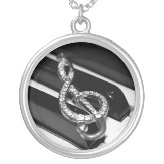 Music Piano Silver Plated Necklace
