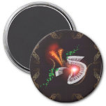 Music, piano with leaves and floral elements 7.5 cm round magnet