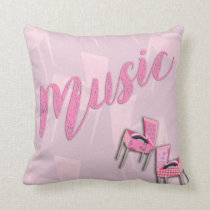 Music Pink Retro Cushion
