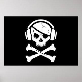 Music Pirate Piracy anti-riaa icon Poster