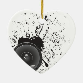 Music Poster with Audio Speaker 2 Ceramic Heart Decoration