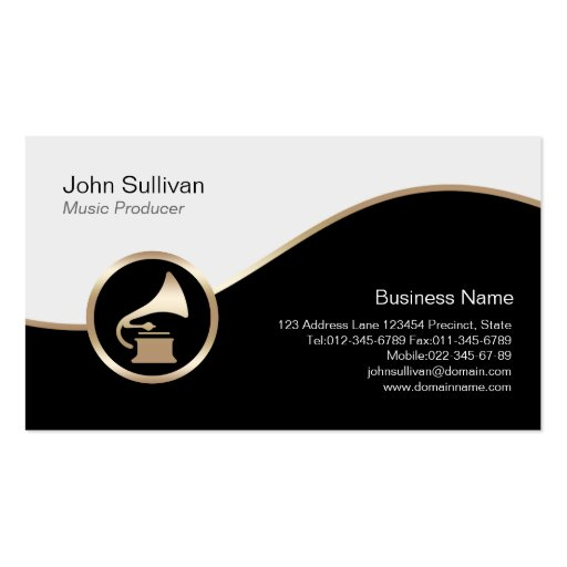 Music Producer Business Card Gold Gramophone Icon