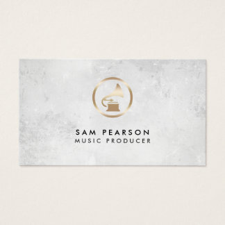 Music Producer Gold Gramophone Icon Business Card
