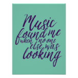 Music Quote Hand Lettering Calligraphy Blue Poster