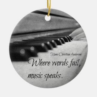 Music Quote Piano Keys Christmas Ornament