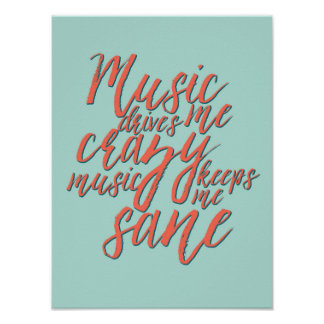 Music Quotes Hand Lettering Calligraphy Poster