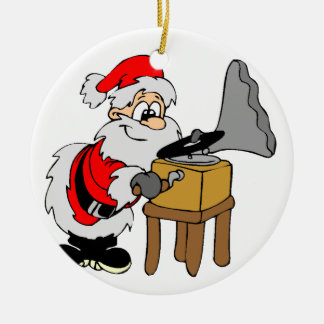 Music Record Player Santa Round Ceramic Decoration
