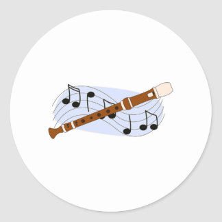 Music Recorder Instrument Classic Round Sticker