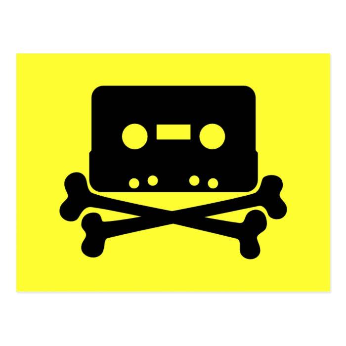 Music - Retro Cassette & Cross Bones Postcard
