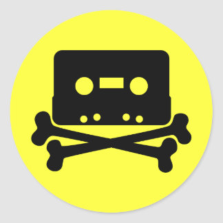 Music - Retro Cassette & Cross Bones Round Sticker