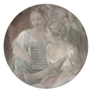 Music Room (fresco) (detail of 60259) Dinner Plates
