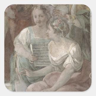Music Room (fresco) (detail of 60259) Square Sticker