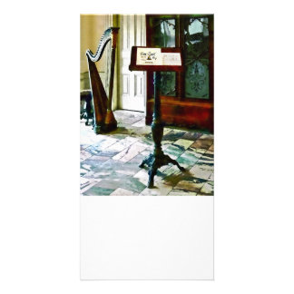 Music Room With Harp Photo Card