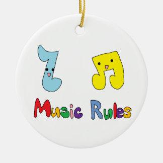 Music Rules Cute Music Notes Round Ceramic Decoration