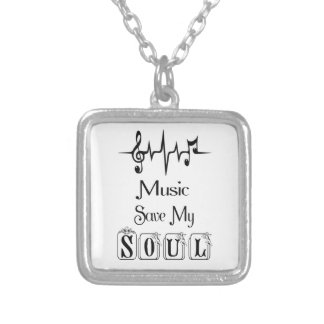 Music Save My Soul/Silver Plated Square Necklace
