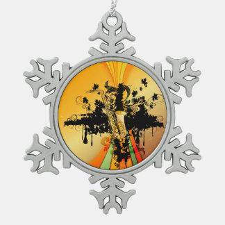 Music, saxophone pewter snowflake decoration