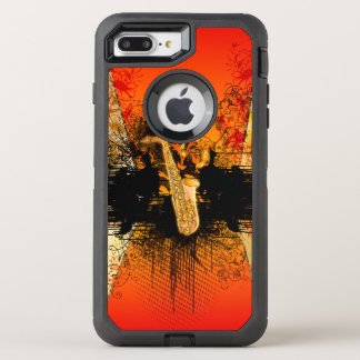 Music, saxophone with grunge OtterBox defender iPhone 8 plus/7 plus case