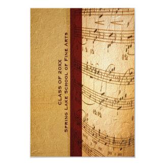 Music School or Performing Arts Academy Graduation 9 Cm X 13 Cm Invitation Card