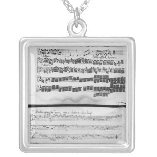 Music score for Telemann's Suite for two Silver Plated Necklace