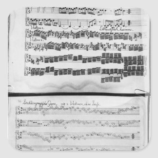 Music score for Telemann's Suite for two Square Sticker