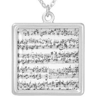 Music Score of Johann Sebastian Bach Square Pendant Necklace