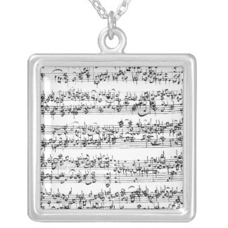 Music Score of Johann Sebastian Bach Silver Plated Necklace