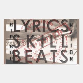MUSIC SERIES - HIP HOP LYRICS SKI RECTANGULAR STICKER