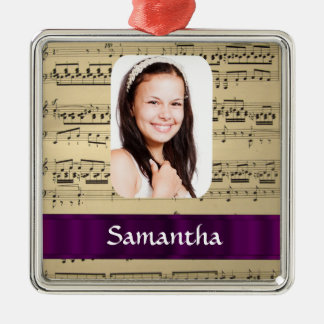 Music sheet personalized photo template christmas ornament