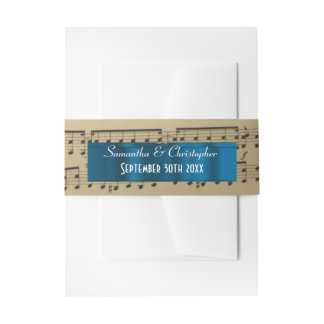 Music sheet personalized wedding invitation belly band