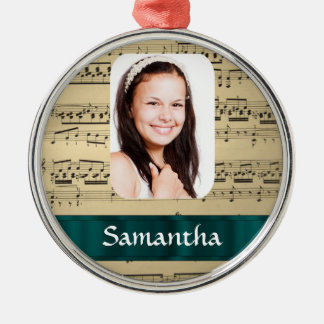 Music sheet photo template christmas ornament