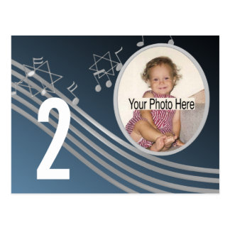Music Silver BluePhoto Table Number Postcard
