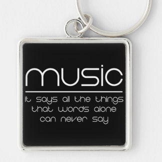 Music Silver-Colored Square Key Ring