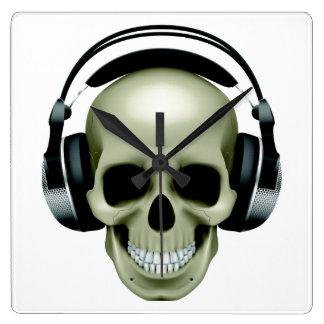 Music (Skull / Headphones) Square Wall Clock