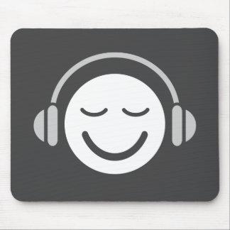 Music smiley DJ musician modern cool gray Mouse Mat