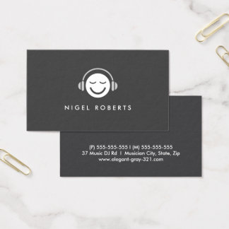 Music smiley DJ musician modern elegant gray Business Card