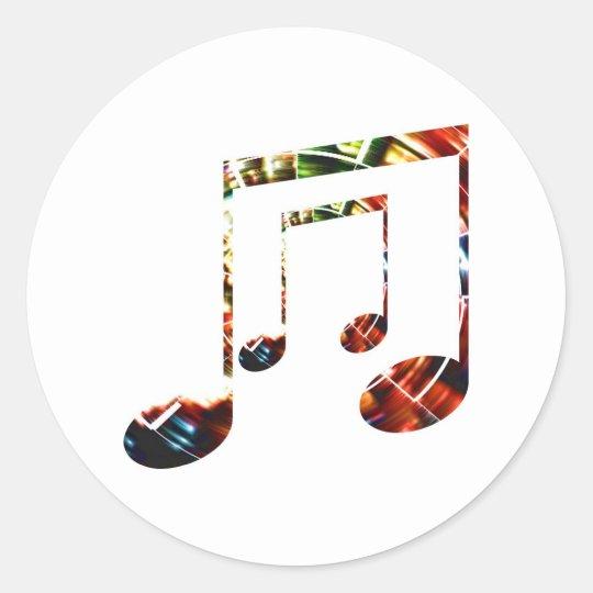 Music Sparkle Red Classic Round Sticker
