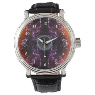 Music speaker and purple neon pattern watch