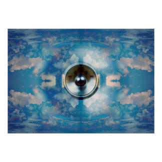 Music speaker in a cloudy blue sky poster